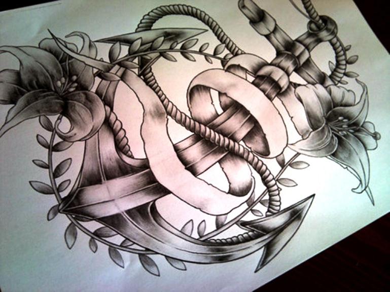 ancora-tattoo-idea-fiori