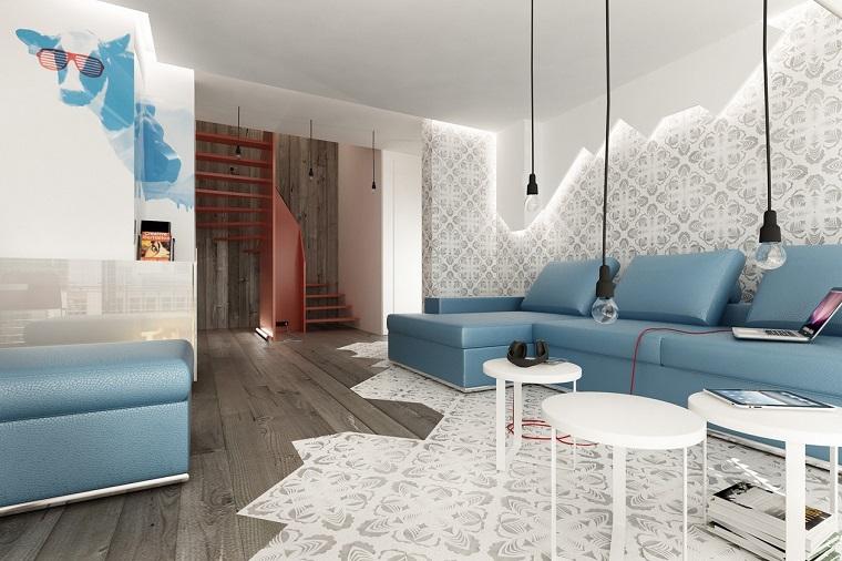arredamento salotto moderno-divani-carta-zucchero-lampadine-sospese
