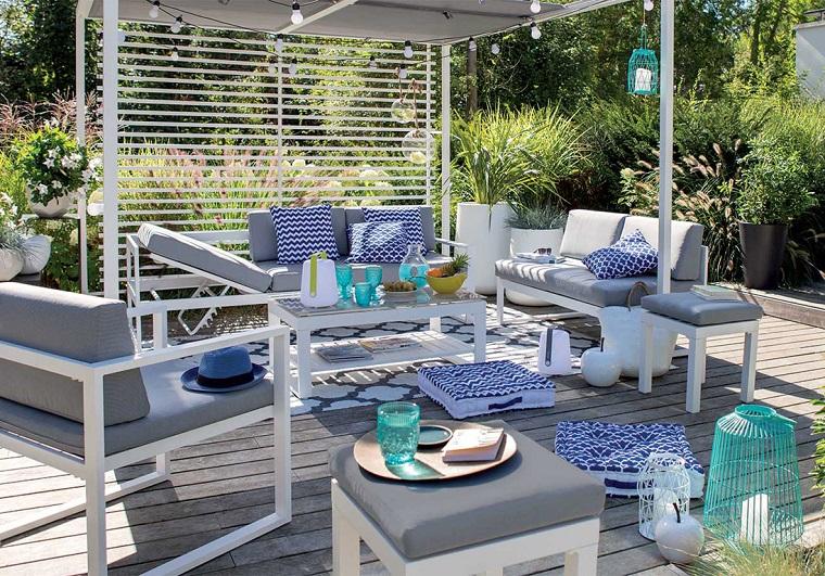 arredare il terrazzo-proposta-toni-bianco-grigio-blu