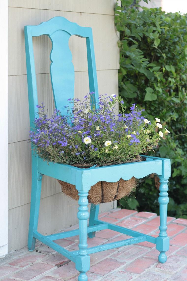 Idee fai da te giardino lo spazio esterno si veste di for Decorare sedia legno