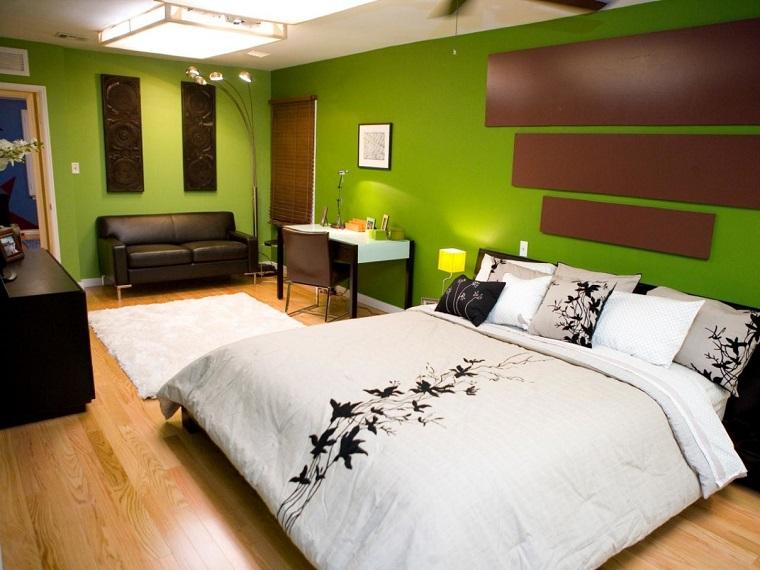 colori-per-pareti-verde-acceso-camera-letto