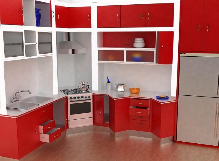 cucine-ad-angolo-moderne-idea-rosso-acceso