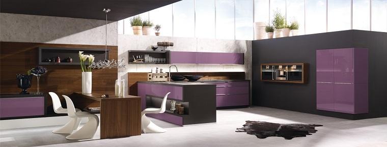 cucine moderne ad angolo-dettagli-viola