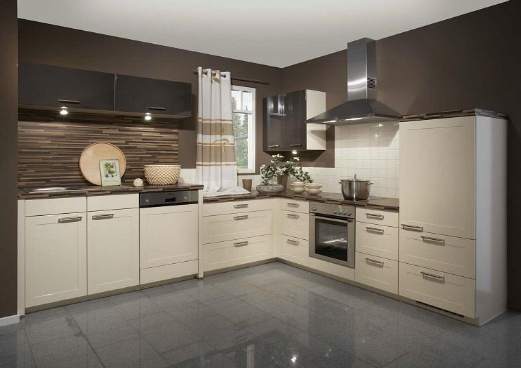 cucine moderne ad angolo-mobili-bianchi-pavimento-grigio