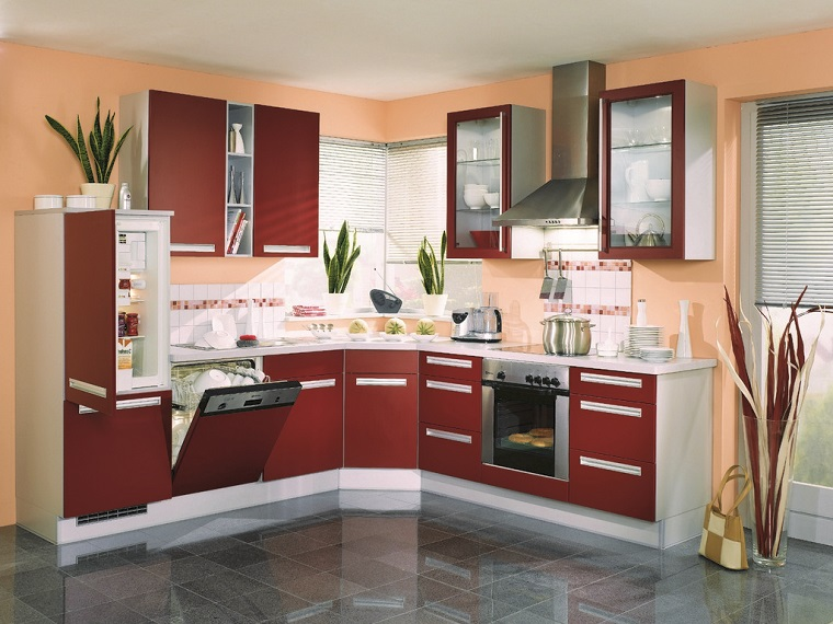 cucine-moderne-ad-angolo-mobili-bordeaux-bianchi