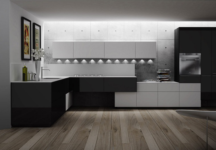 cucine moderne ad angolo-pavimento-parquet