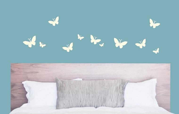 decorazioni casa-stencil-muro-farfalle-bianche