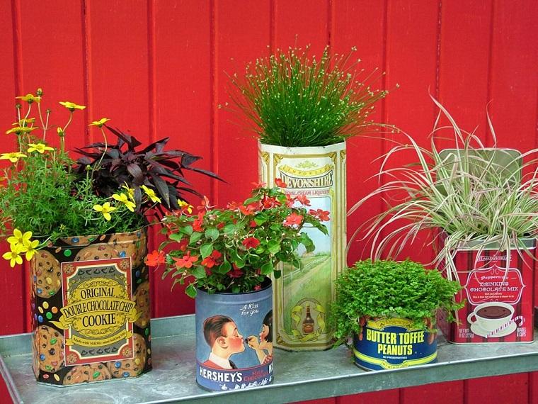 idee fai da te giardino-barattoli