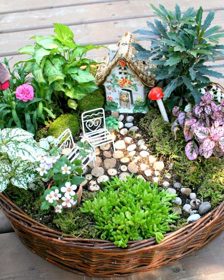 idee fai da te giardino-composizione-cesto