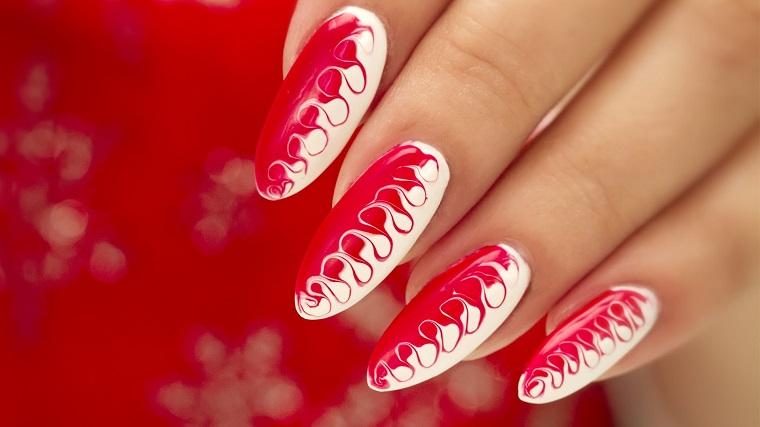 nail art gel-bianco-rosso