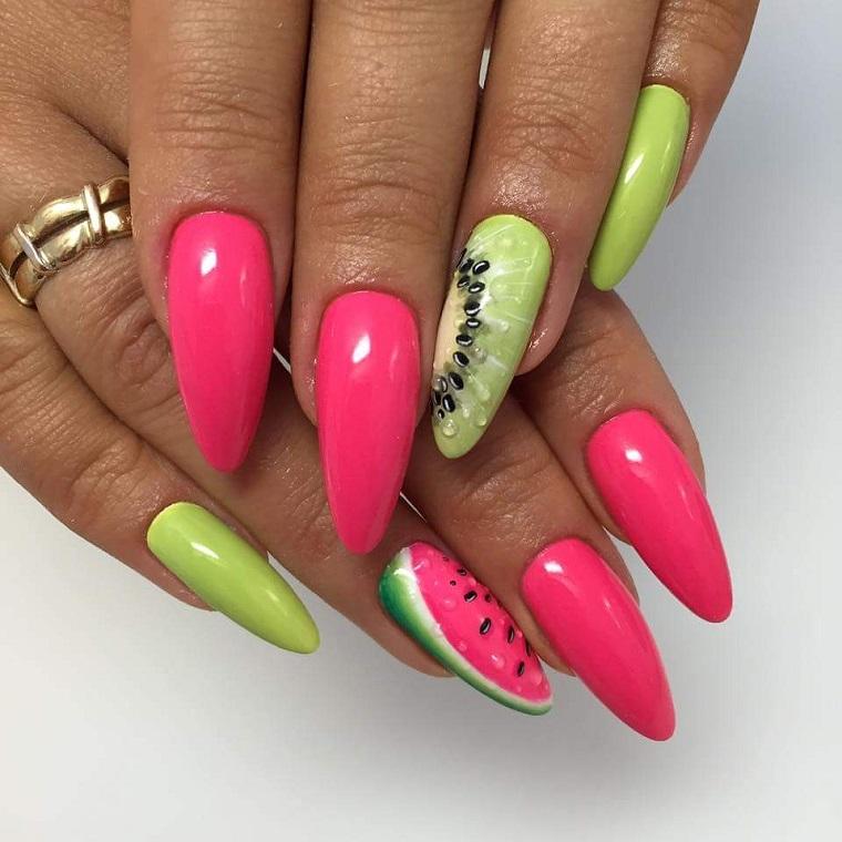 nail art gel-fucsia-giallo