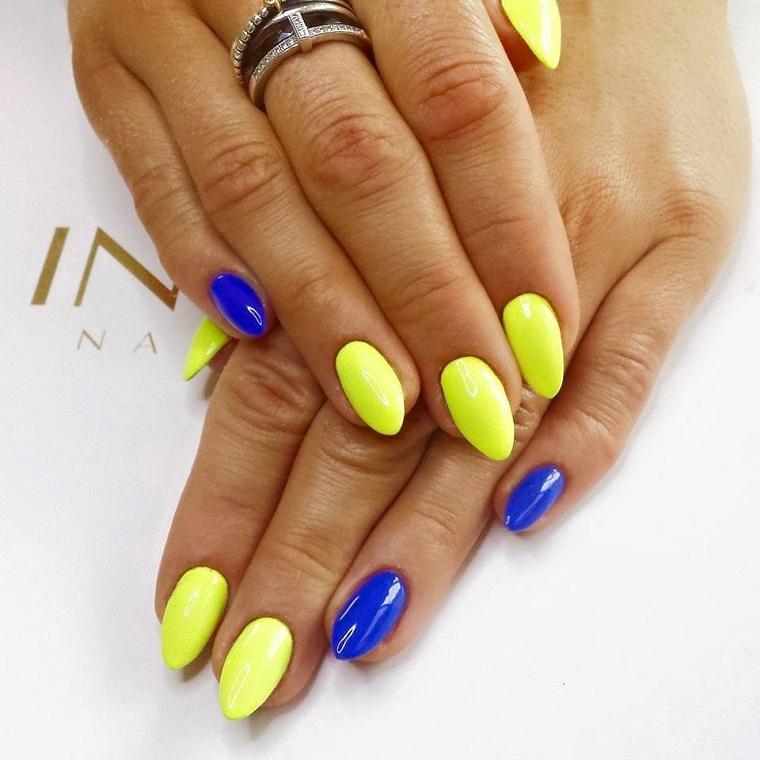 nail art gel-giallo-blu