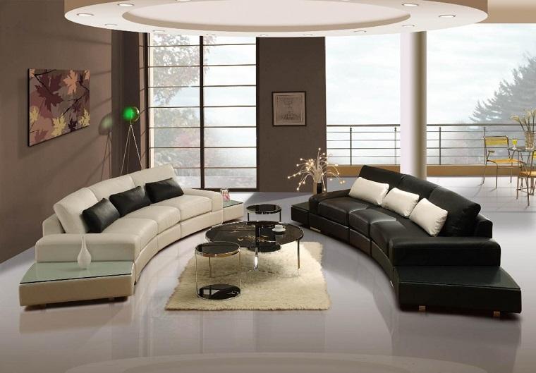 salotto-moderno-divani-semicerchio-bianchi-neri