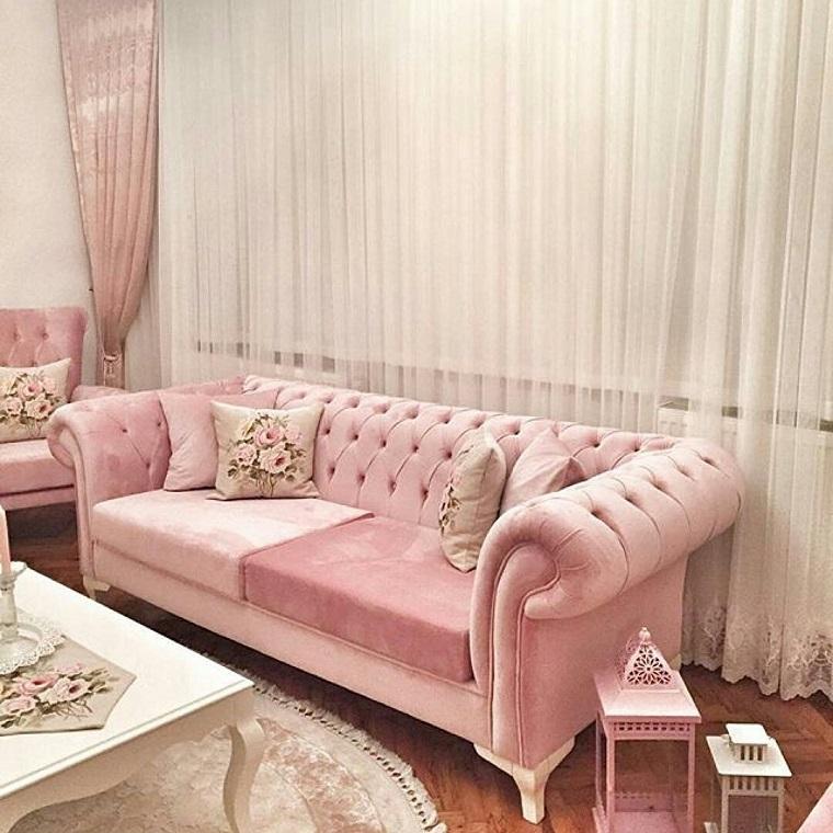 shabby-chic-idea-divano-rosa-elegante