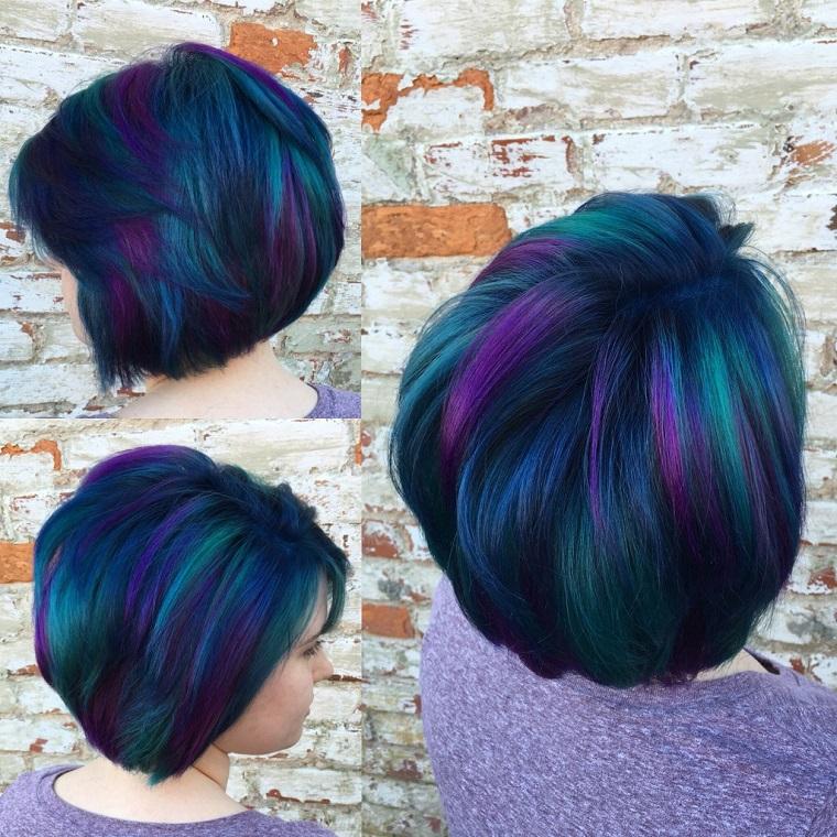 taglio capelli corti-caschetto-blu-viola