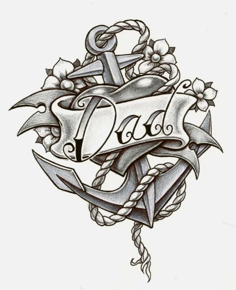 tatuaggio ancora-bianco-nero-fiori