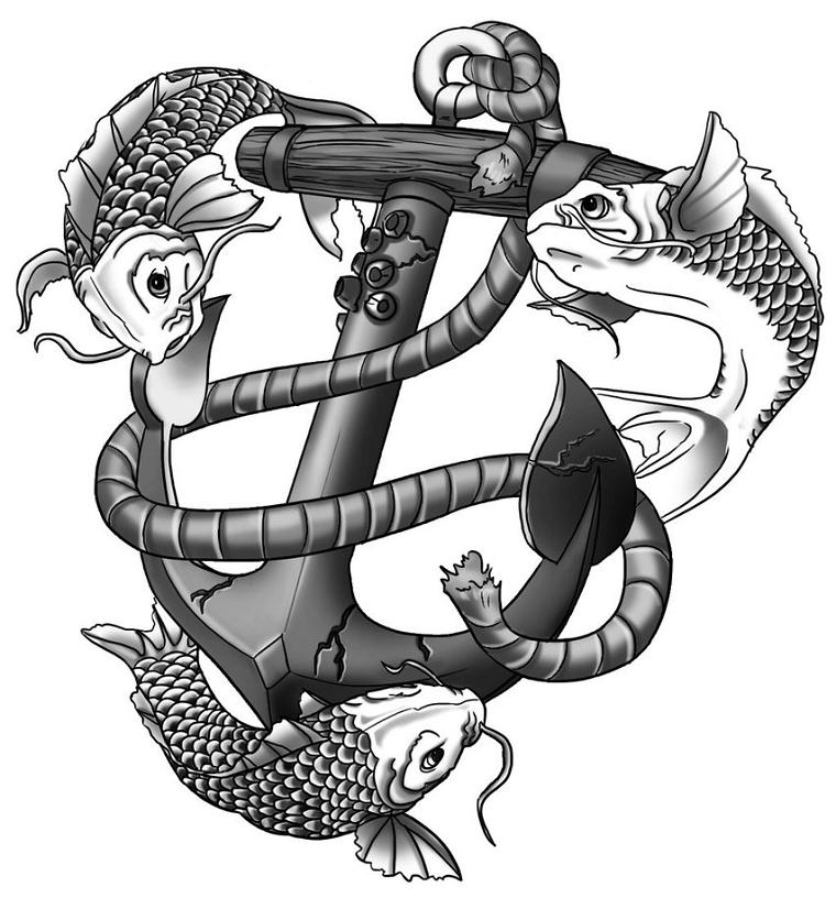 tatuaggio ancora-carpe-corde-arrotolate