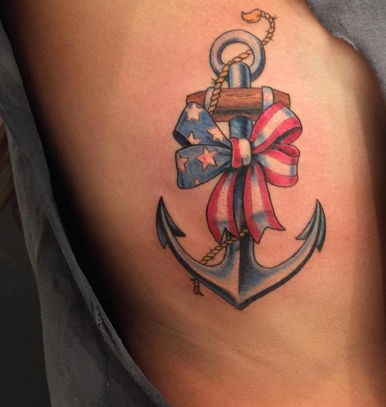 tatuaggio ancora-fiocchio-bandiera-americana