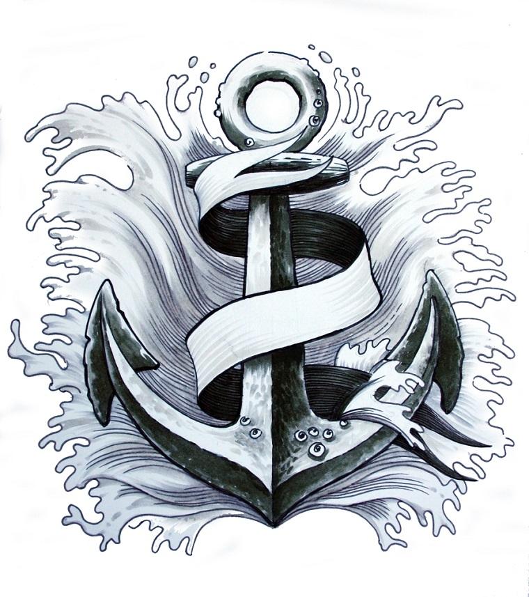 tatuaggio ancora-idea-contornata-onde