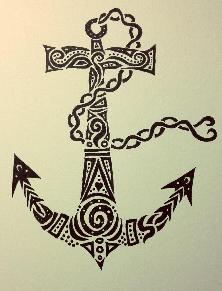 tatuaggio ancora-idea-stile-tribale