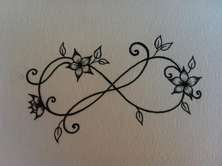 tatuaggio infinito-idea-fiori