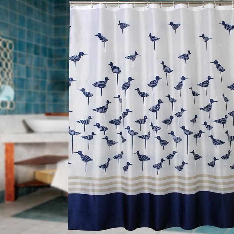 tende bagno-bianca-uccellini-blu