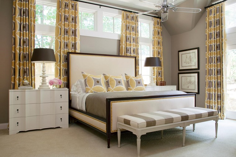 tende da camera da letto-gialle-marroni