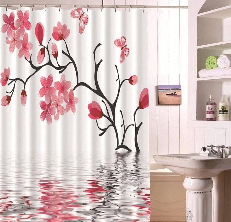 tende-per-bagno-fiori-farfalle-rossi