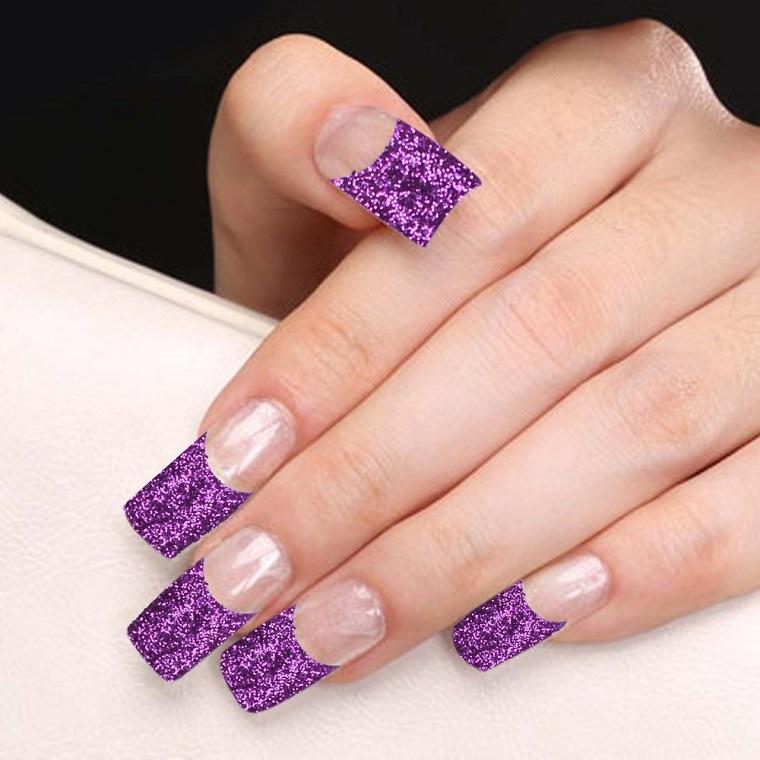 unghie-colorate-french-viola-glitterata