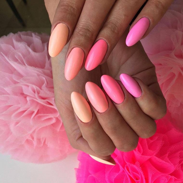 unghie-colorate-sfumature-rosa-arancio
