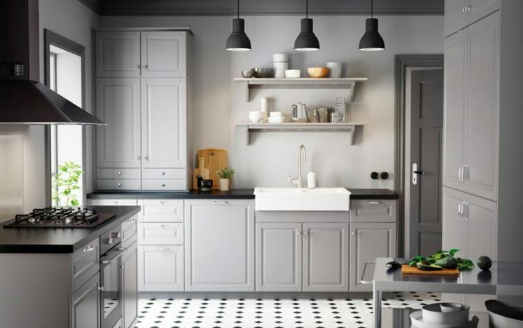 arredare-cucina-stile-country-pavimento-pistrelle-lavandino-vintage-colore-bianco-mobili-legno-colore-grigio
