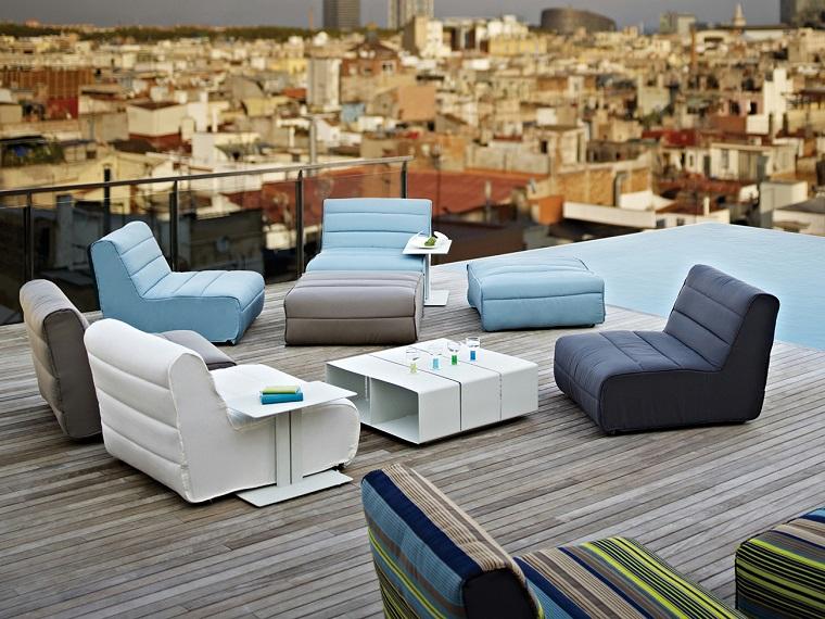 arredare terrazzo appartamento-sedute-design