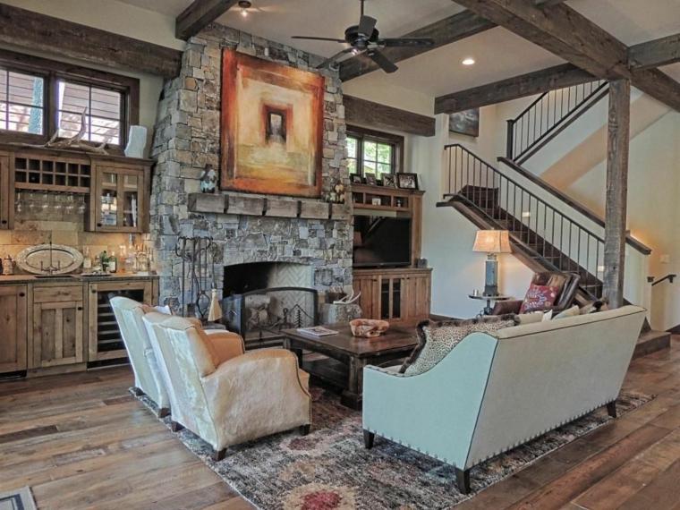 camino-rustico-cucina-legno-travi-illuminazione-moderna-tappeto-decorazioni-originali