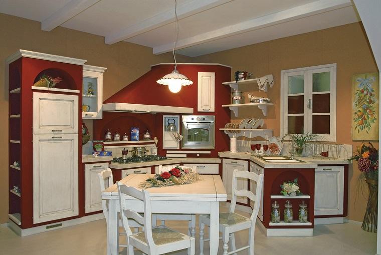 Cucina in muratura solidit tradizione e atmosfere accoglienti - Cucina bianca e rossa ...