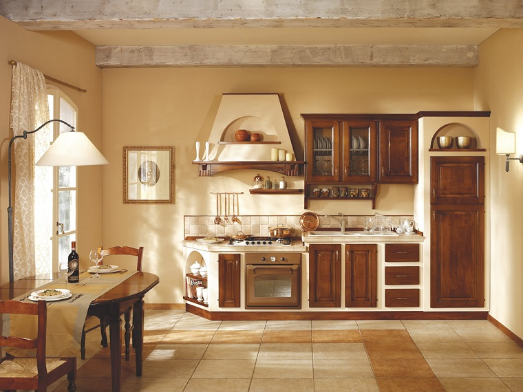 cucina in muratura-panna-legno
