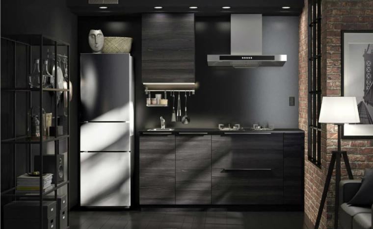 cucina-stile-maschile-mobili-colore-scuro-frigo-freestanding-lampada-terra