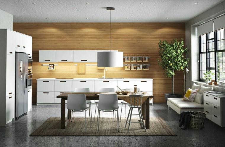 cucine-ikea-stile-parete-legno-mobili-colore-bianco-set-tavolo-pranzo