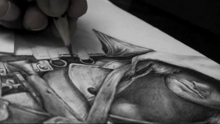 disegni-a-matita-esempio-soggetto-3d-uomo-mezzo-busto-cappuccio-calato-volto
