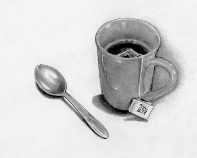 disegni-a-matita-facili-tazzina-te-busta-interno-cucchiaino-lato-tre-dimensioni-dettagli-curati