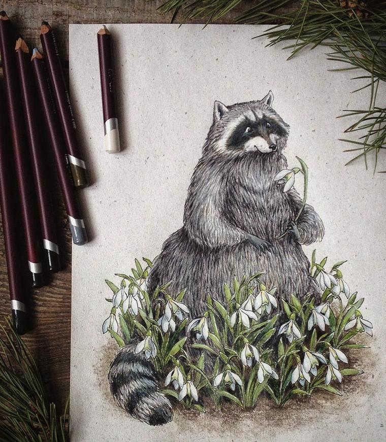 disegni-a-matita-primo-piano-procione-contornato-fiori-colorati-bianco-piante-verdi