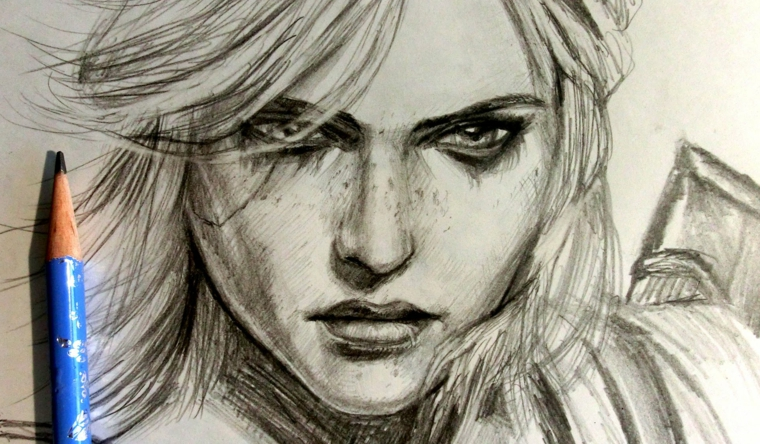 disegni-a-matita-primo-piano-volto-donna-ciuffo-lato-lineamenti-marcati-sguardo-severo