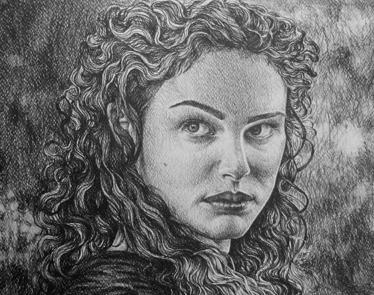 disegni-a-matita-primo-piano-volto-donna-sguardo-severo-capelli-ricci-bocca-serrata