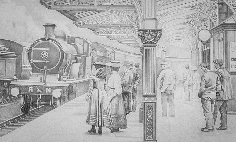 disegni-a-matita-scena-interno-stazione-ferroviaria-antica-treno-arrivo-passeggeri-attesa
