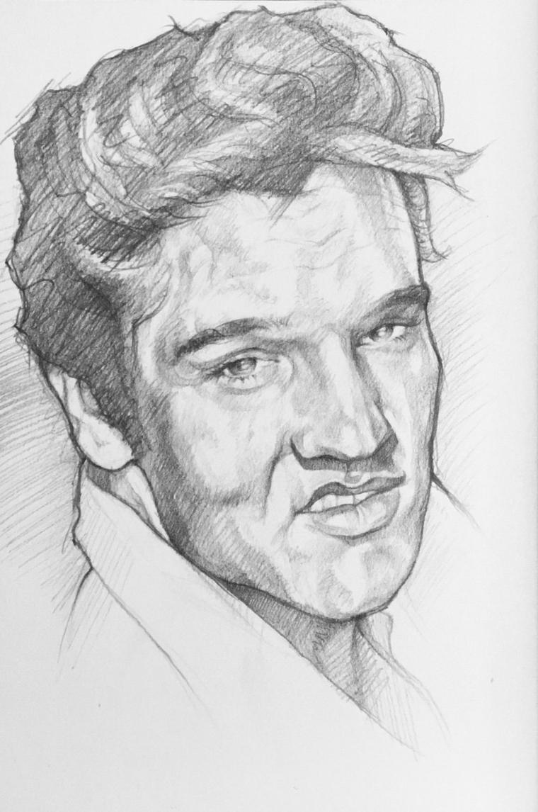 disegni-a-matita-semplici-primo-piano-volto-elvis-presley-sorriso-mezza-bocca-bianco-nero
