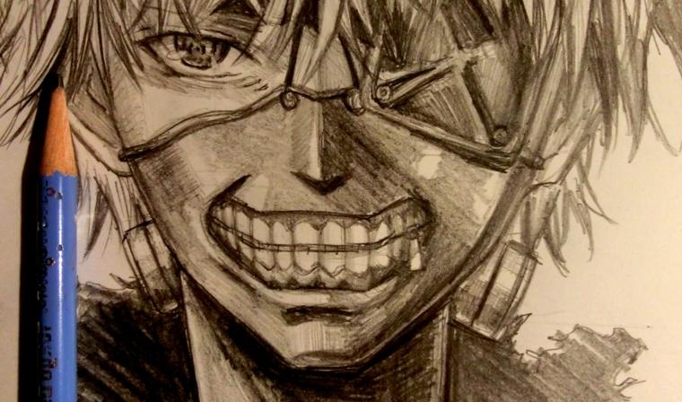 disegni-a-matita-semplici-primo-piano-volto-ragazzo-bocca-aperta-denti-evidenza-occhio-aperto-uno-chiuso