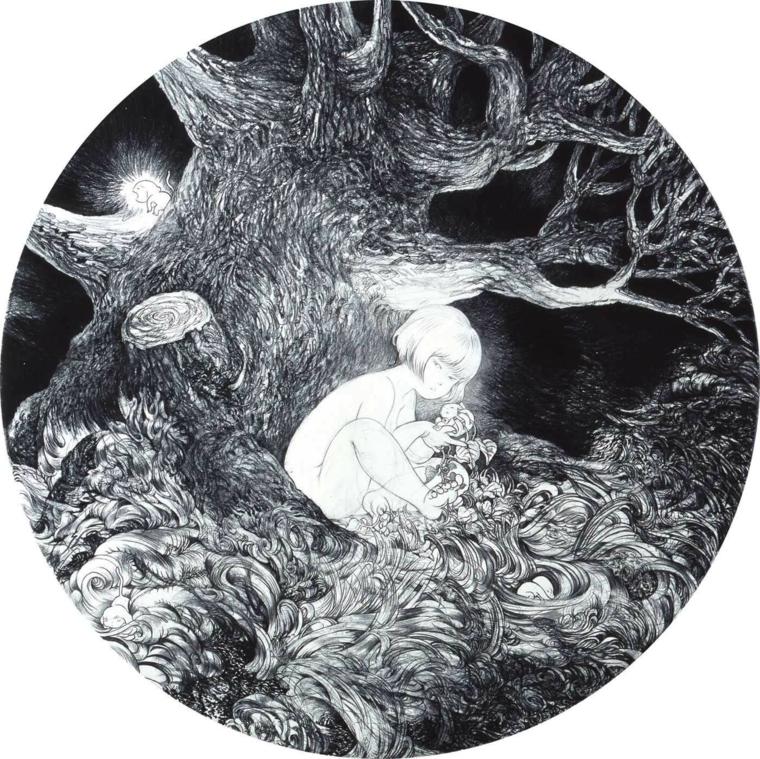 disegni-facili-da-copiare-idea-tonda-interno-soggetto-fantasia-albero-grandi-rami-bambina