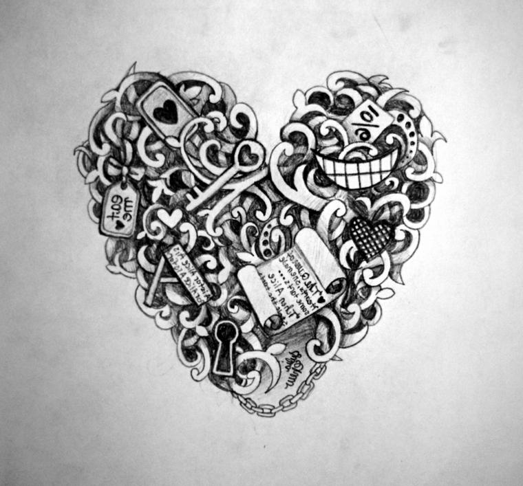 disegni-semplici-proposta-tatuaggio-forma-cuore-ricco-elementi-interno-chiavi-serrature-pergamene