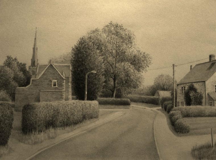 disegni-semplici-realizzati-matita-bianco-nero-strada-deserta-lato-casa-alberi-siepi