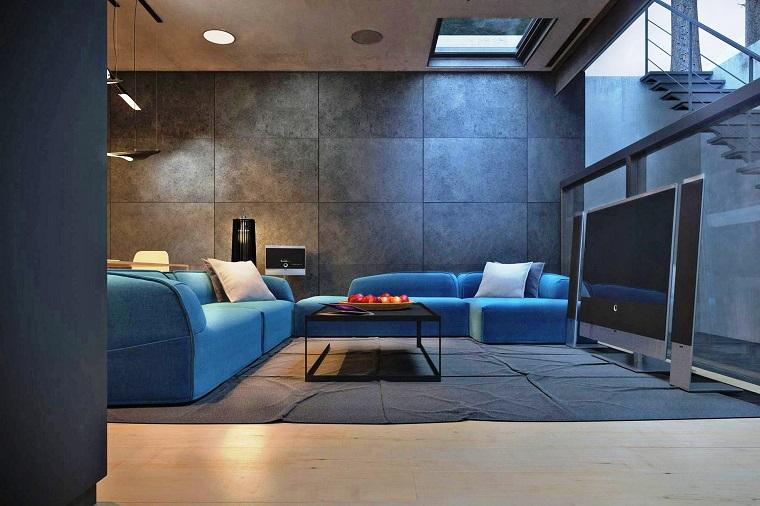 Salotto Moderno Con Divano Libreria Interior Design : Divano blu proposte per un arredamento dal classico al