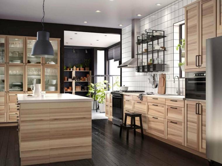 ikea-cucine-componibili-mobili-legno-stile-eleganza-isola-centrale-abbinamento-colore-nero